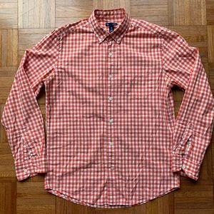 Men's Gap Orange White Gingham Slim Fit Shirt, M